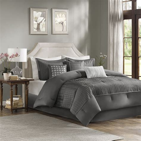 White Bed Set by Beautiful 7pc Modern Grey White Textured Ruffled Pleat