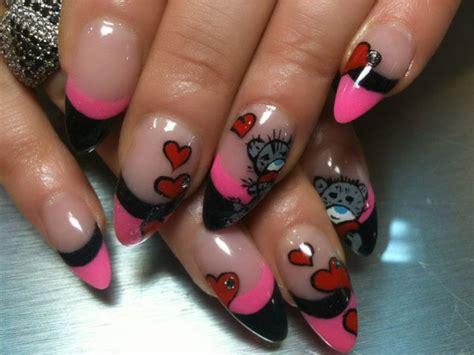 Handmade Nail Designs - handmade stiletto aqua design nail pink and black