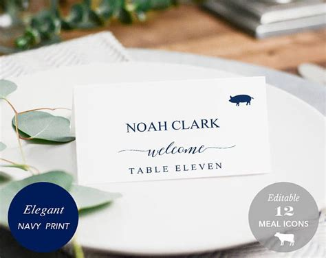 Place Cards With Meal Choice Template by Best 25 Place Card Template Ideas On Free