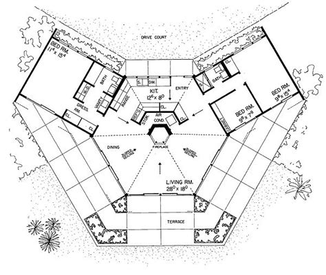 hexagon floor plans hexagon house plan a home pinterest hexagons unique