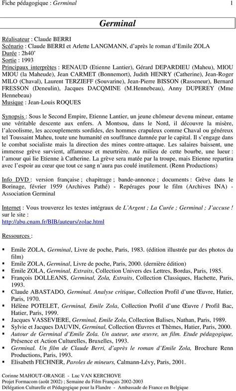 germinal claude berri analyse germinal fiche p 233 dagogique germinal pdf