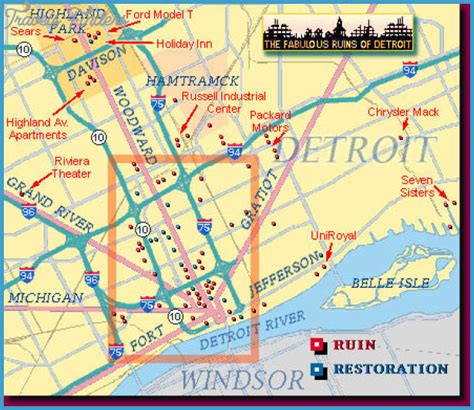 maps detroit detroit map tourist attractions travelsfinders