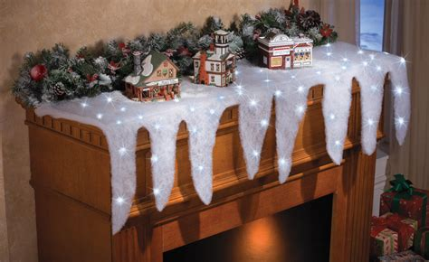 led lighted icicle mantel scarf runner indoor christmas