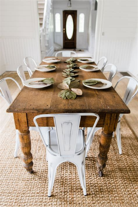 dining room farmhouse table with metal chairs folding new farmhouse dining chairs
