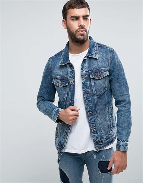 Jaket Wash Pull Quality pull pull denim jacket in mid wash blue