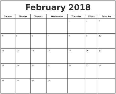 printable february 2018 calendar february 2018 print free calendar
