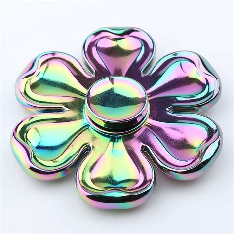Fidget Spinner Metalic Croom Fidget Handspiner colorful 6 5 6 5 1 5cm petaloid fidget zinc alloy
