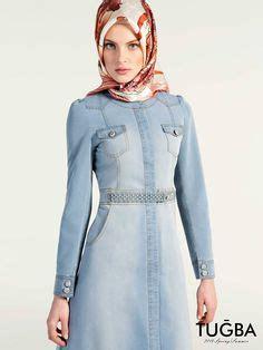 Nazla Dress button denim abaya muslimah fashion in 2018