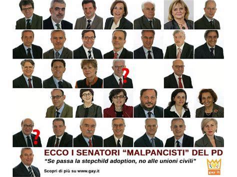 dei senatori unioni civili 30 senatori pd contro le adozioni e it