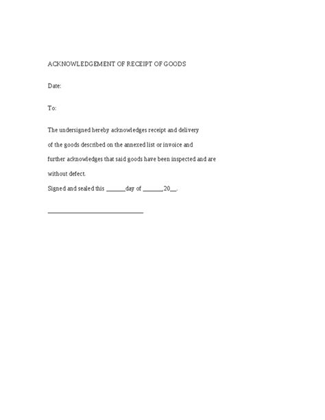 receipt of goods template acknowledgement of receipt of goods form and letter sle