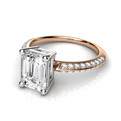 knife edge pave emerald cut engagement ring