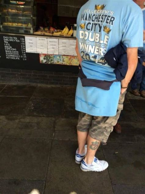Liverpool Tshirt Distro Hes Back manchester city fan has liverpool crest tattooed to his leg picture 101 great