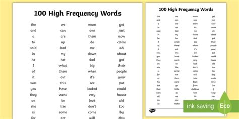 Pdf New Words In The Last 5 Years by 100 High Frequency Words List Sight Words And Hfw For Ks1