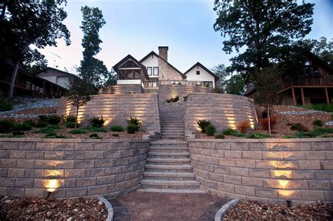 retaining wall accent lights terraced retaining wall with stairs and accent lighting