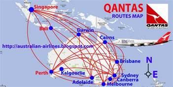 Flight Route Map by Civil Aviation Qantas Routes Map
