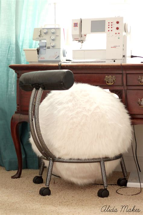 fuzzy white desk chair home sewn series ball chair makeover alida makes