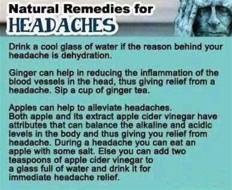 remedies for headaches health and