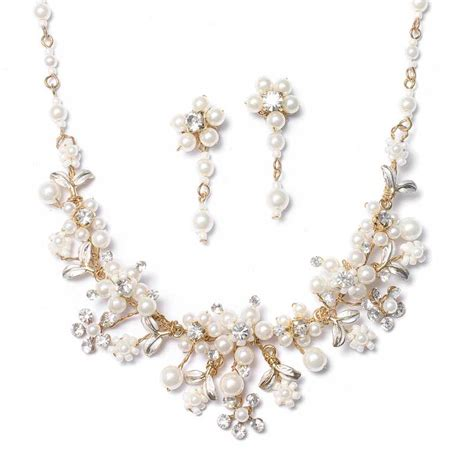 gold bridal jewelry set pearl necklace earrings