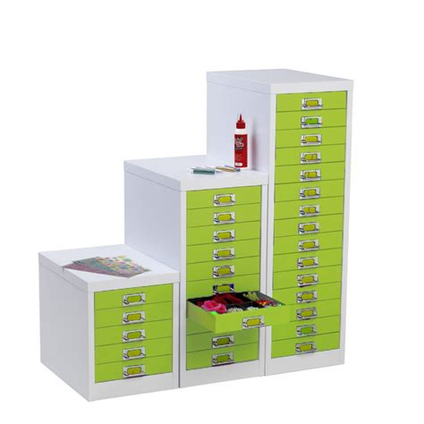 Silverline Multi Drawer Cabinets by White And Lime Green Lockable Multi Drawer Cabinet 5 Drawer