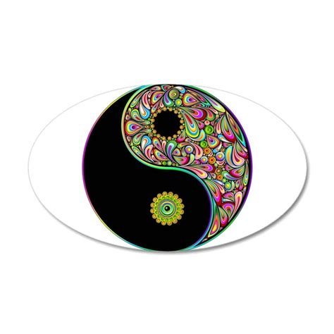 what color is yin yin yang symbol psychedelic colors wall decal by