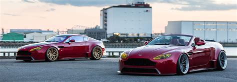 stanced aston martin aston martin racing vantage gt3 and roadster on vossen wheels
