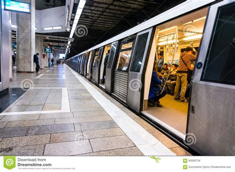 Metro Opens Doors by Metro At The Station Editorial Stock Image Image 60589734