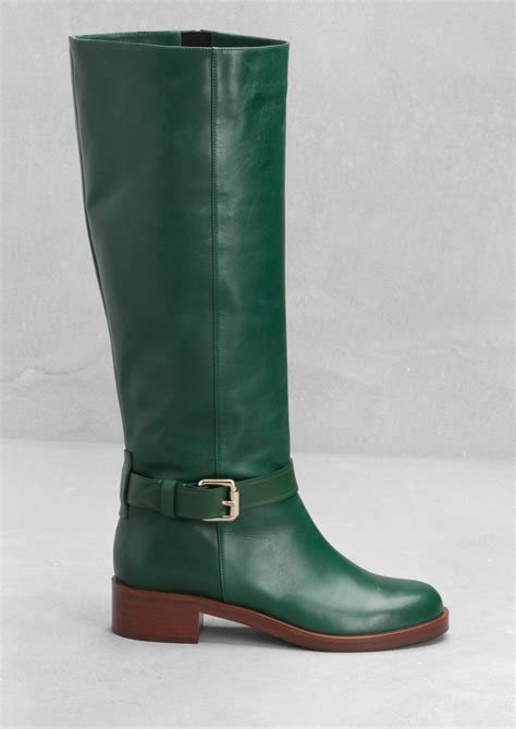 green boots other stories leather knee boots in green green bluish