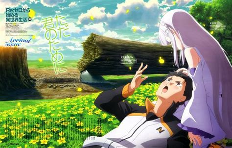 subaru and emilia wallpaper re zero images re zero wallpaper and background photos