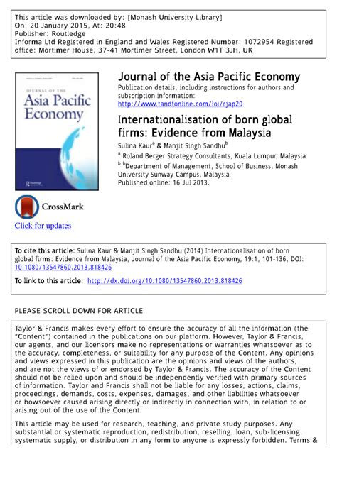 born global characteristics internationalisation of born global firms evidence from