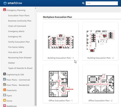 Emergency Plan Software Make Free Escape Plans Fire Safety Exits Building Evacuation Map Template