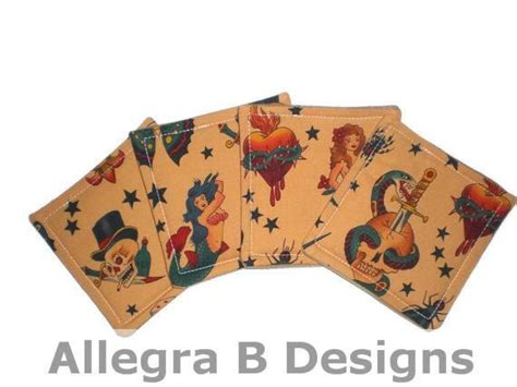 sailor jerry home decor sailor jerry fabric drink coasters set of four by