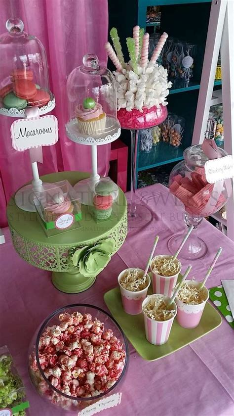 Pink Green Baby Shower Party Ideas Photo 6 Of 8 Pink And Green Buffet