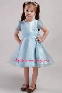 blue knee length little dress scoop short sleeves style with bowknot