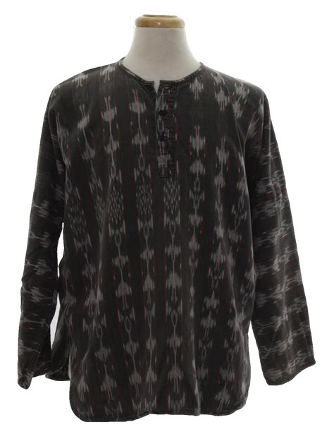 21812 Import Cotton Blouse Gray Mlxl retro 80 s hippie shirt 80s one earth imports mens grey