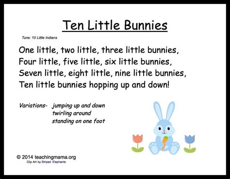 song toddlers 5 bunny chants for preschoolers