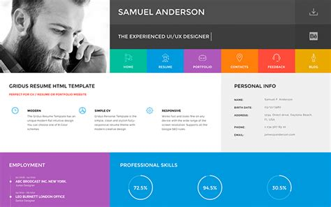 Cv Website Template by Gridus Vcard Cv Resume Portfolio Resumes Cv