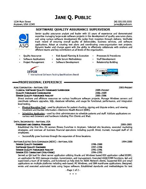 quality assurance supervisor resume free sles exles format resume curruculum vitae