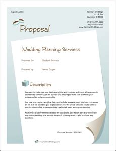 wedding planner services sle proposal