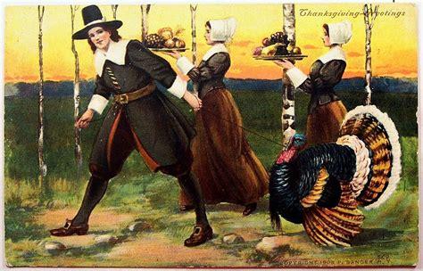 1908 p sander postcard pilgrims gather for thanksgiving
