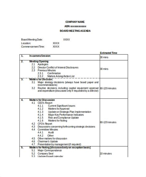 corporate board meeting minutes template board meeting agenda template 10 free word pdf