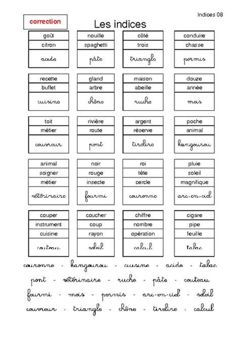 Indices – Charades – Lecture ludique – Ce2 – Français