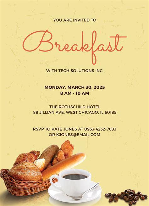 Free Company Breakfast Invitation Template In Adobe Photoshop Microsoft Word Microsoft Free Breakfast At S Invitation Template
