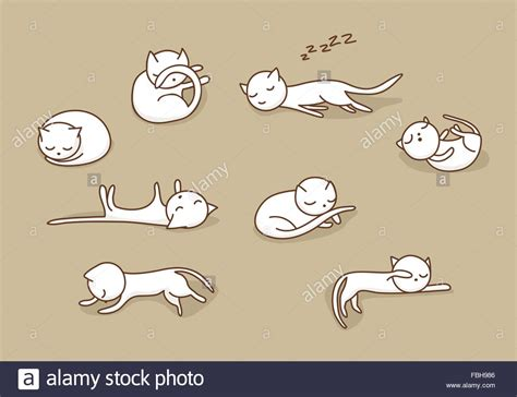 free vector doodle cat white doodle cats sleeping in various stock
