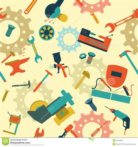 what works for at work four patterns working need to books metal work tools background seamless pattern stock