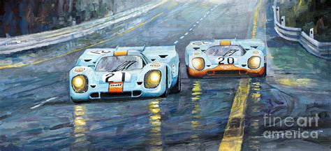 Porsche 917 K Gulf Spa Francorchs 1971 Painting By
