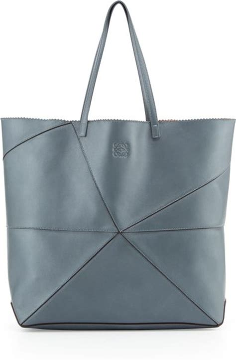 loewe lia origami leather tote bag slate in gray slate