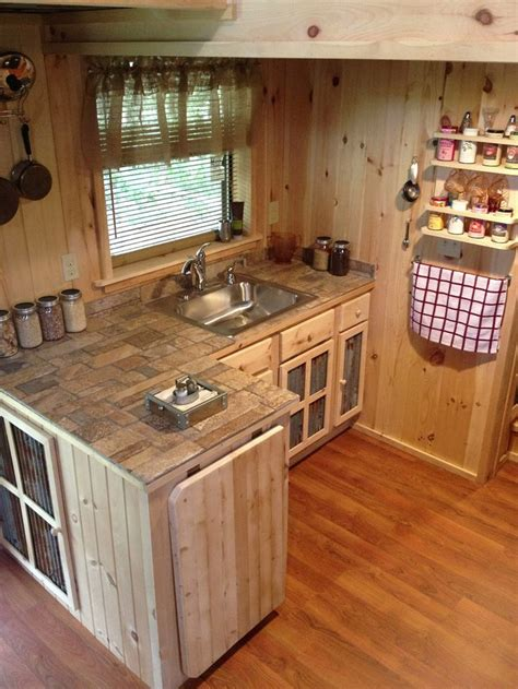 Tiny House Kitchen Cabinets A 240 Square Tiny House With Downstairs Office Upstairs Sleeping Loft And Living Area