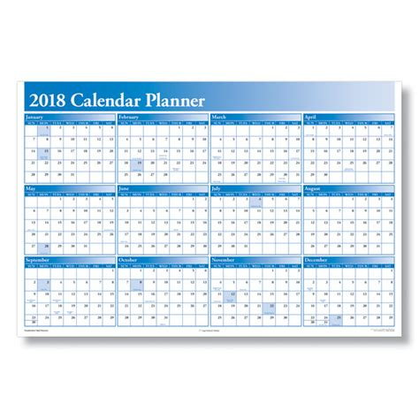 2018 Planner Calendar 2018 Yearly Calendar Planner For The Workplace