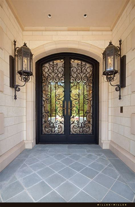 Custom Ornate Handmade Wrought Iron And Glass Front Entry Ornate Front Doors