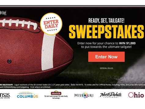 Tailgate Sweepstakes - midwest living ready set tailgate sweepstakes